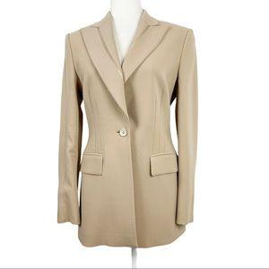 Louis Feraud Virgin Wool Silk Cream Blazer Size 6